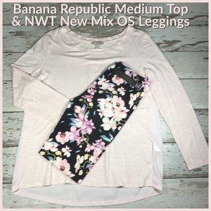 Legging Outfit; Banana Republic M Top EUC & OS NWT